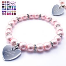 Personalised Engraved Pearl and Rhinestone Bracelet